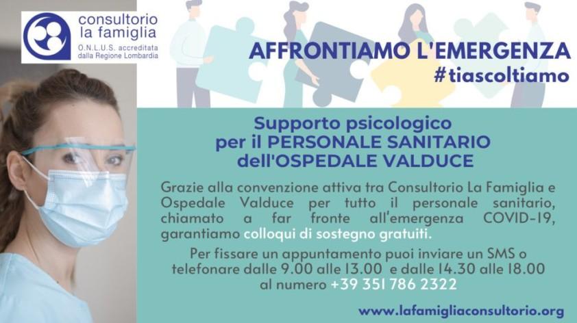 Supporto psicologico per il PERSONALE SANITARIO dell'OSPEDALE VALDUCE